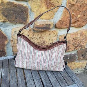 Fossil multi color woven & leather shoulder bag
